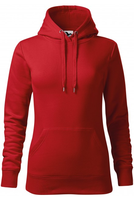 Red ladies sweatshirt with hood without zip, XS