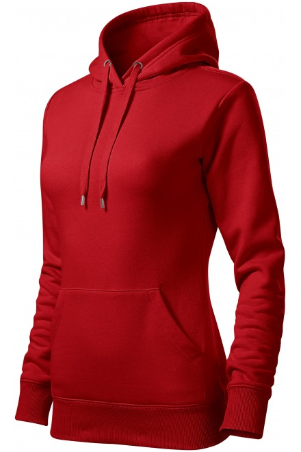 Ladies sweatshirt with hood without zip Red