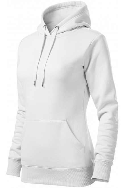 Ladies sweatshirt with hood without zip White