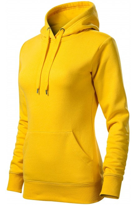 Ladies sweatshirt with hood without zip Yellow