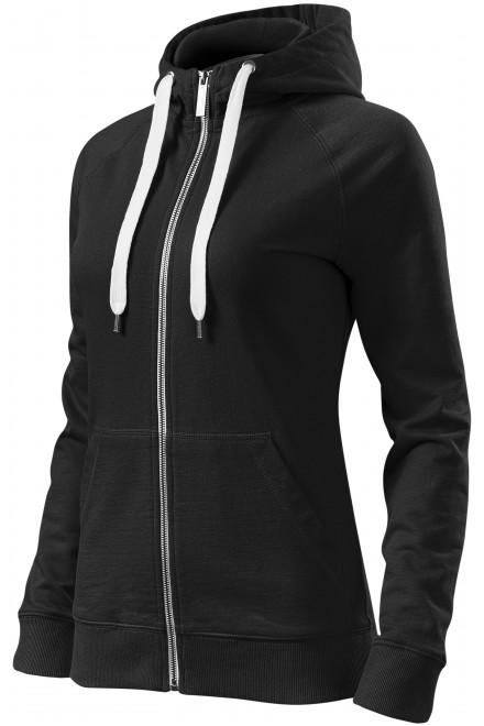 Ladies contrasting sweatshirt with a hood Black