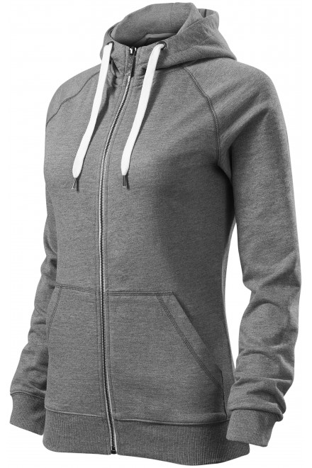 Ladies contrasting sweatshirt with a hood Dark gray melange