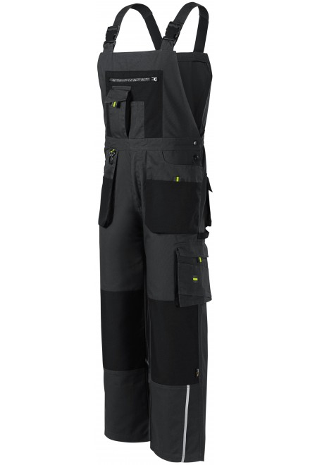 Men's working trousers with braces, enhanced Ebony gray