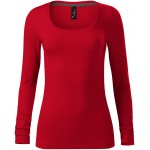 Formula red ladies t-shirt with long sleeves and deeper neckline