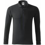 Ebony gray men's polo shirt with long sleeves