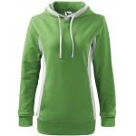 Grass green ladies stylish sweatshirt with hood, S