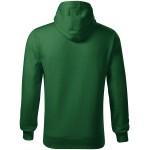 Bottle green men's sweatshirt with hood without zip
