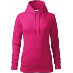 Magenta ladies sweatshirt with hood without zip, XS